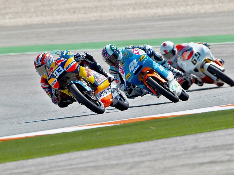 Marquez riding ahead of Espargaró and Louis Rossi at Misano