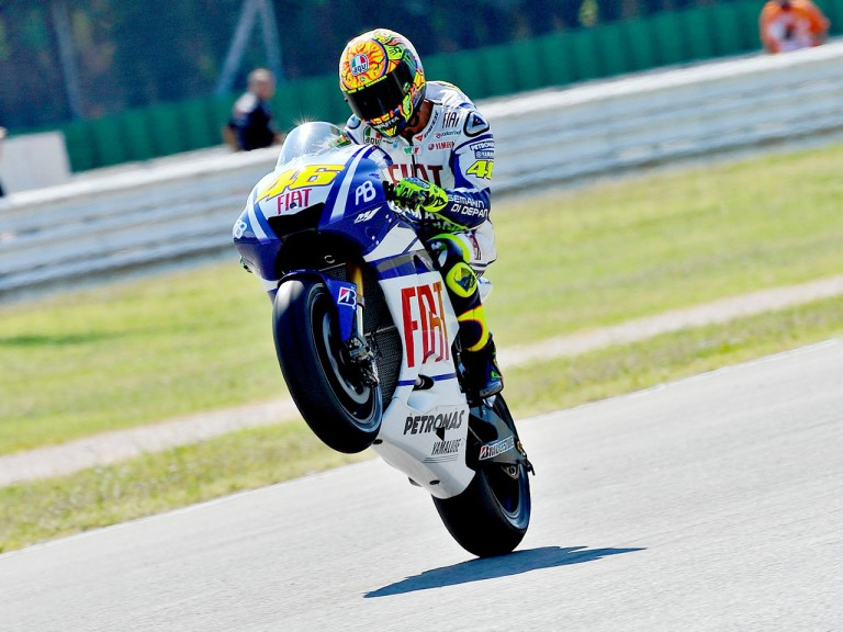 Valentino Rossi pulls off a wheelie at Misano