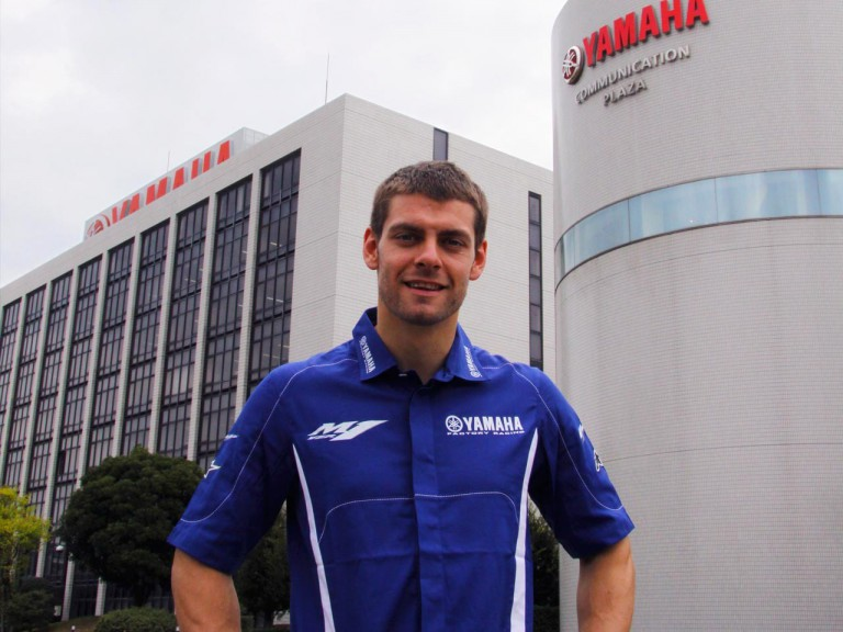 Cal Crutchlow on his visit tour at Yamaha factory