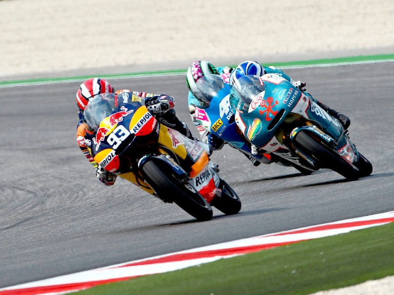 Marquez riding ahead of Terol and Vazquez at Misano