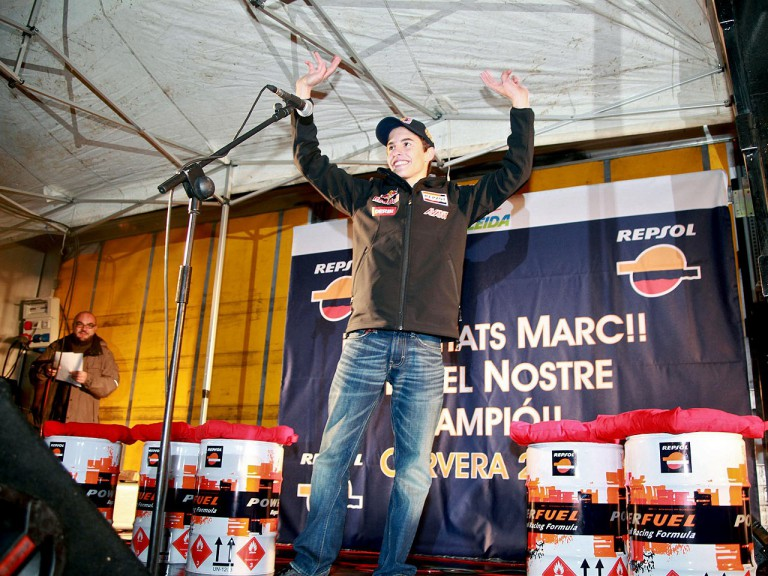 125cc World Champion Marc Márquez's supporters show their affection in Cervera