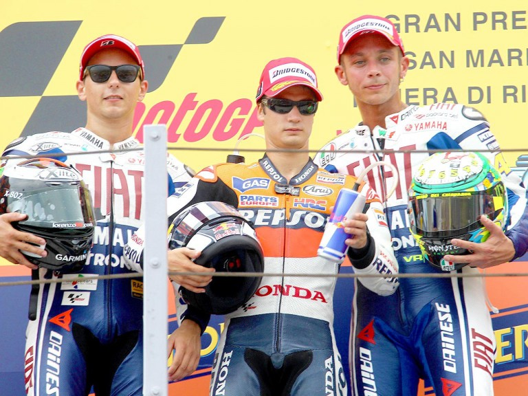 Lorenzo, Pedrosa and Rossi on the podium at Misano
