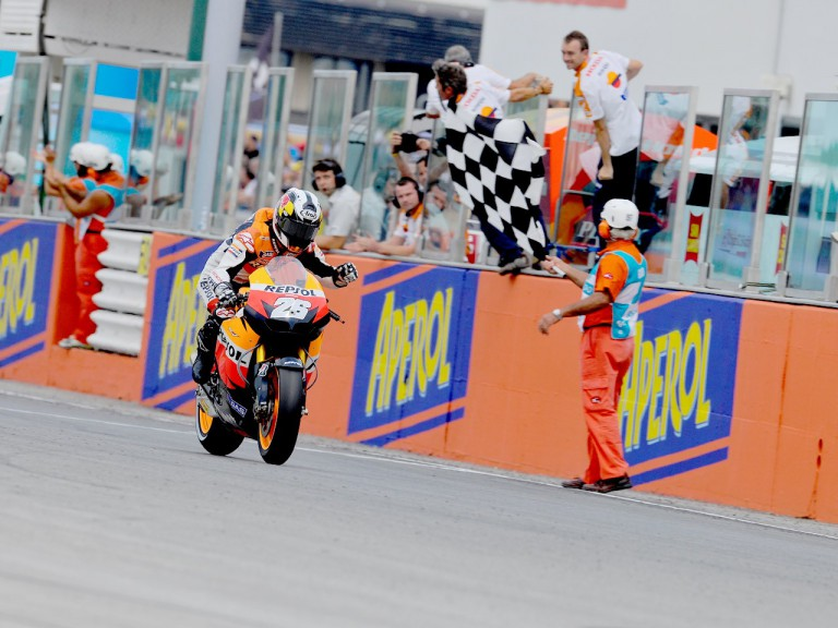 Dani Pedrosa finishing the MotoGP race at Misano