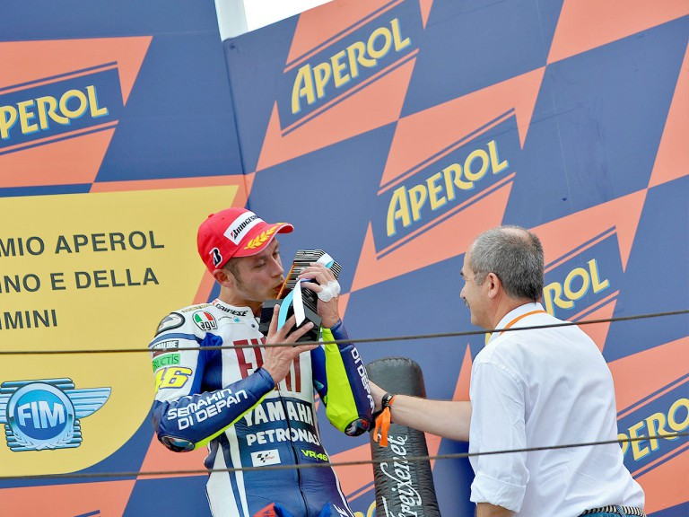 Valentino Rossi on the podium at Misano