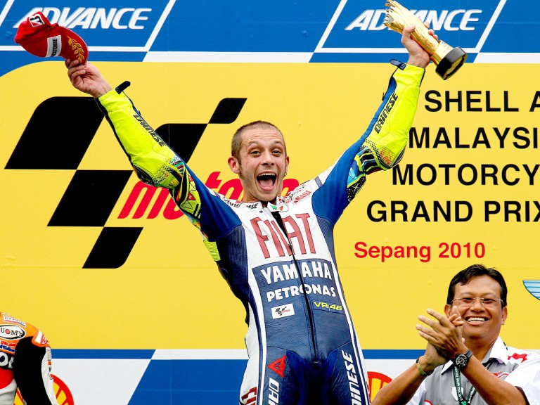 Valentino Rossi on the podium at Sepang