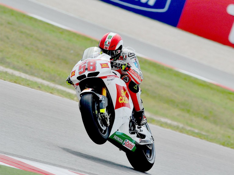 Marco Simoncelli in action at Misano