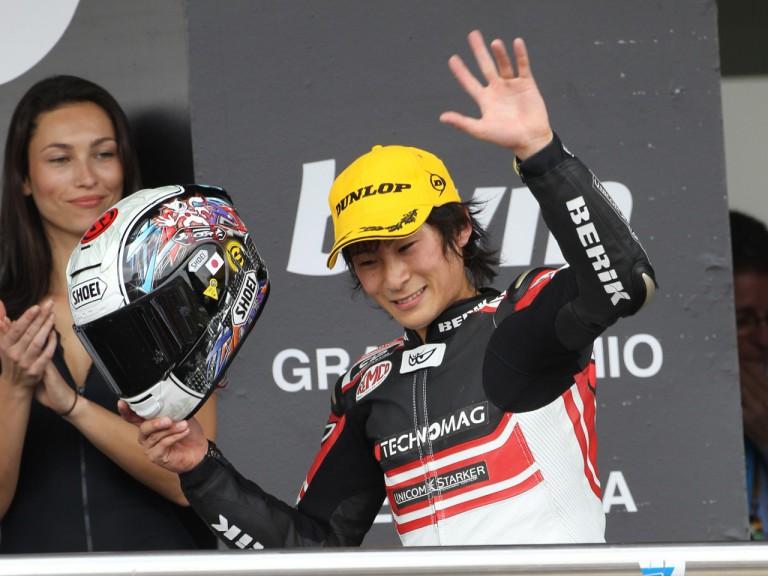 Shoya Tomizawa celebrates Jerez podium finish