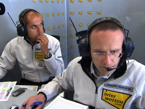 Interwetten Moriwaki Moto2 staff at the garage