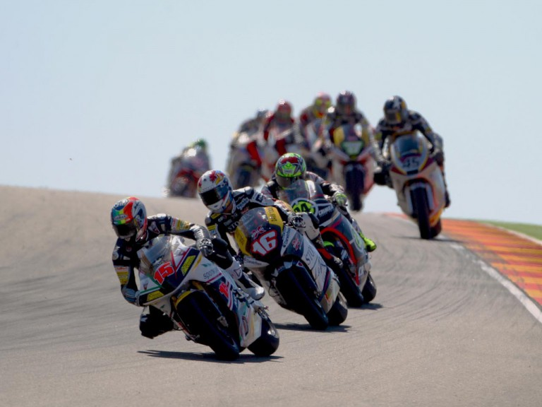 Moto2 group in action at Motorland Aragon