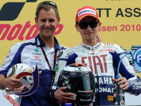 Wilco Zeelenberg and Jorge Lorenzo together on the podium