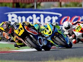 Carmelo Morales riding ahead of Moto2 at CEV Buckler in Albacete