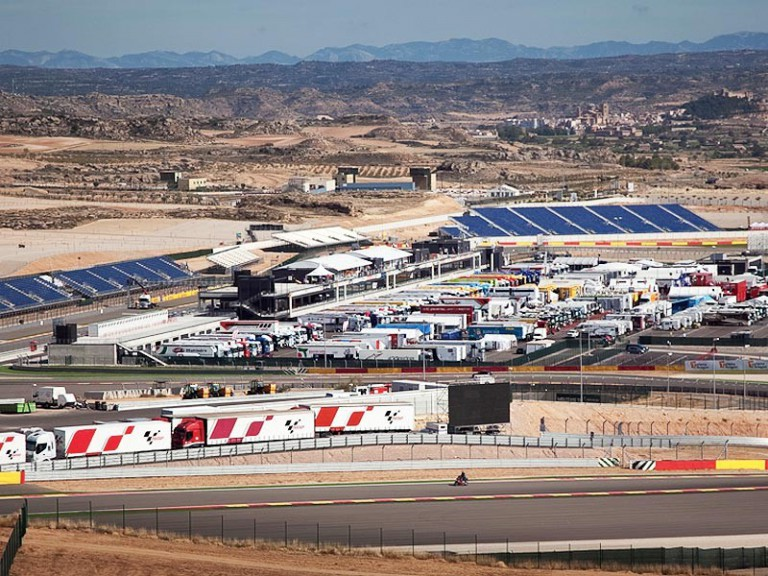 A view of the paddock on Motorland Aragon Circuit
