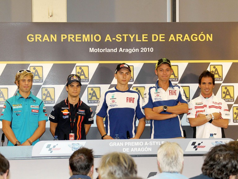 MotoGP riders at the Gran Premio A-Style de Aragón press conference