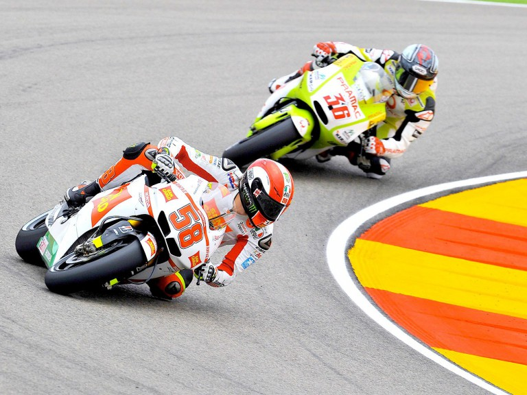 Simoncelli riding ahead of Kallio at Motorland Aragón