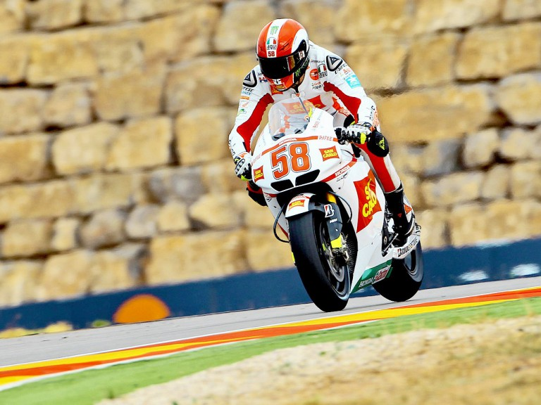 Marco Simoncelli in action at Motorland Aragón