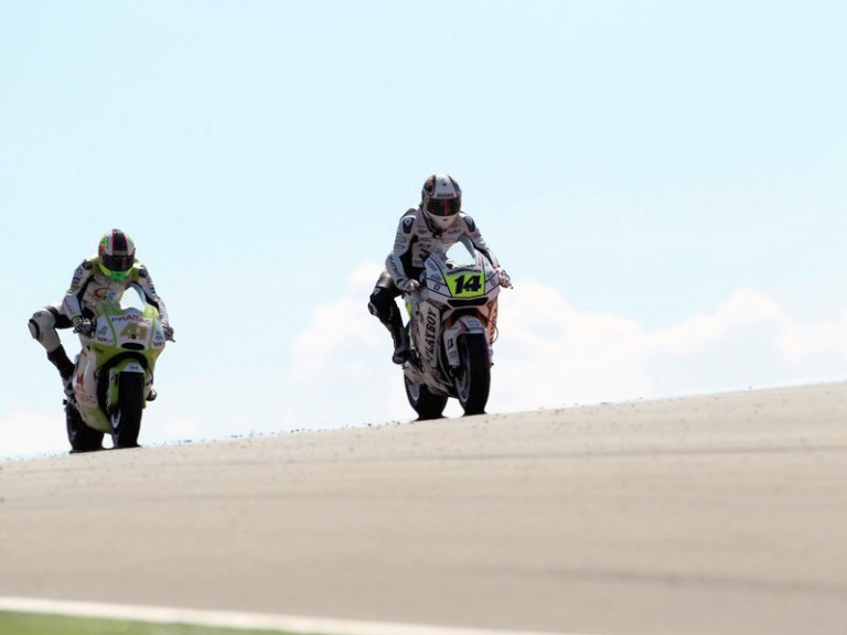 De Puniet riding ahead of Espargaró at Motorland Aragón