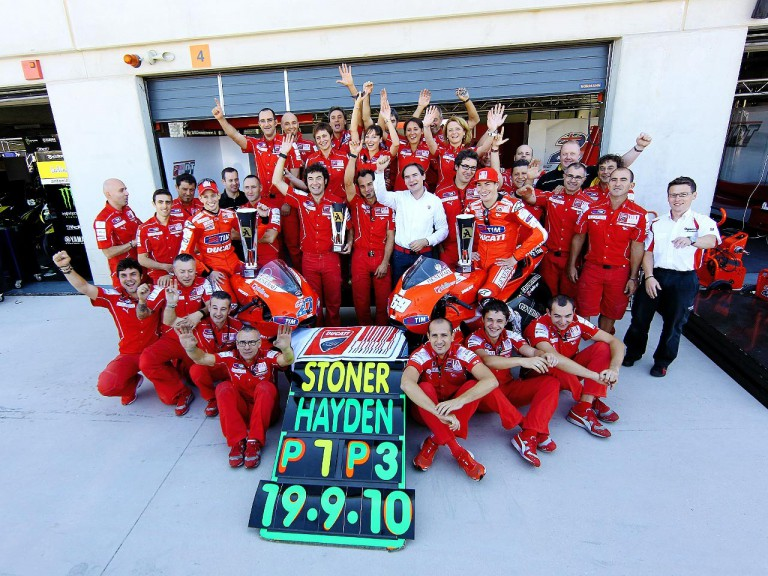 Ducati Team celebrate GP win at Motorland Aragón