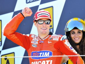Nicky Hayden on the podium at Motorland Aragón