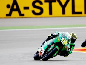 Andrea Iannone in action at Motorland Aragón