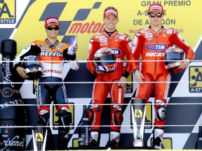 Pedrosa, Stoner and Hayden on the podium at Motorland Aragón