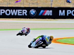 Valentino Rossi in action at Motorland Aragón