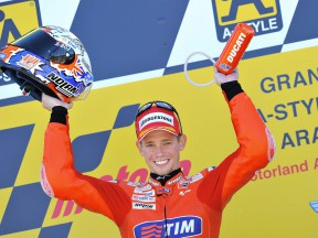 Casey Stoner on the podium at Motorland Aragón
