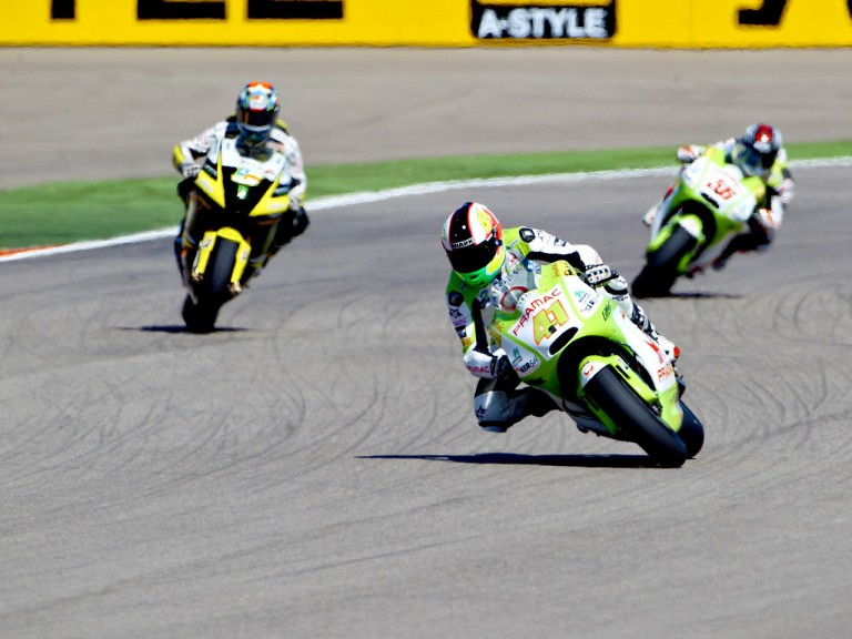 Espargaró riding ahead of Edwards and Kallio at Motorland Aragón