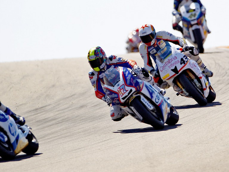 Karel Abraham riding ahead of Roman Ramos at Motorland Aragón