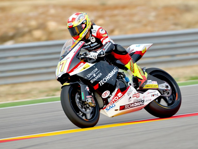 Dominique Aegerter in action at Motorland Aragón