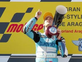 Pol Espargaró on the podium at Motorland Aragón