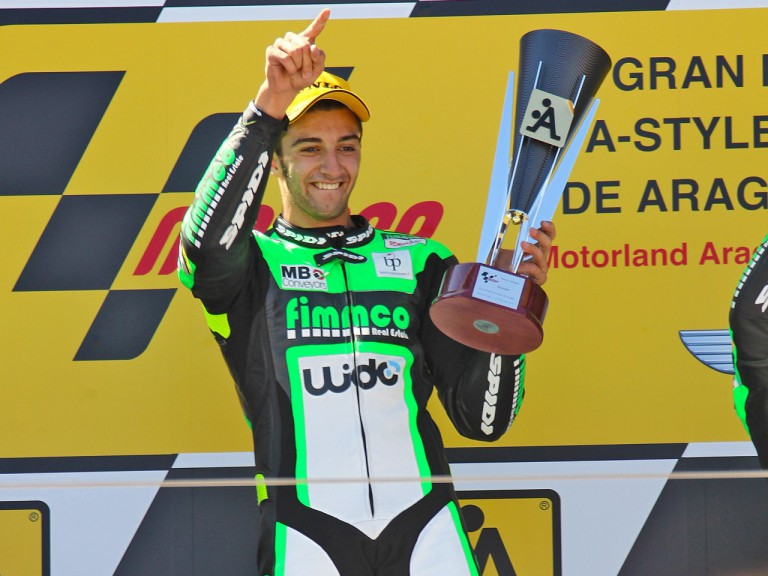 Andrea Iannone on the podium at Motorland Aragón