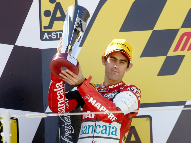 Julián Simón on the podium at Motorland Aragón