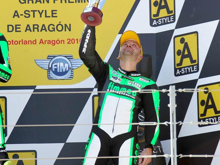 Gabor Talmacsi on the podium at Motorland Aragón