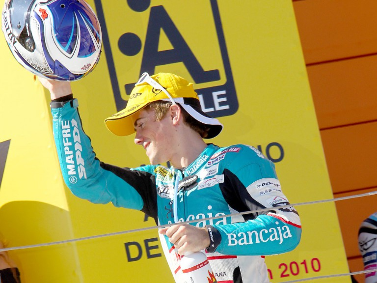 Nico Terol on the podium at Motorland Aragón