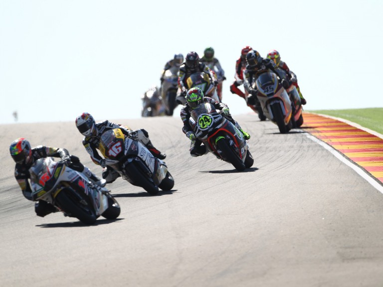 Toni Elias fighting through the pack in Motorland Aragon