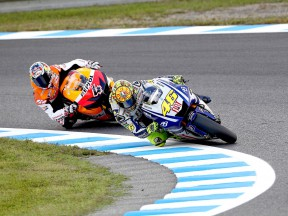 Rossi riding ahead of Dovizioso at Motegi