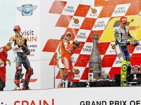 Dovizioso, Stoner and Rossi on the podium at Motegi