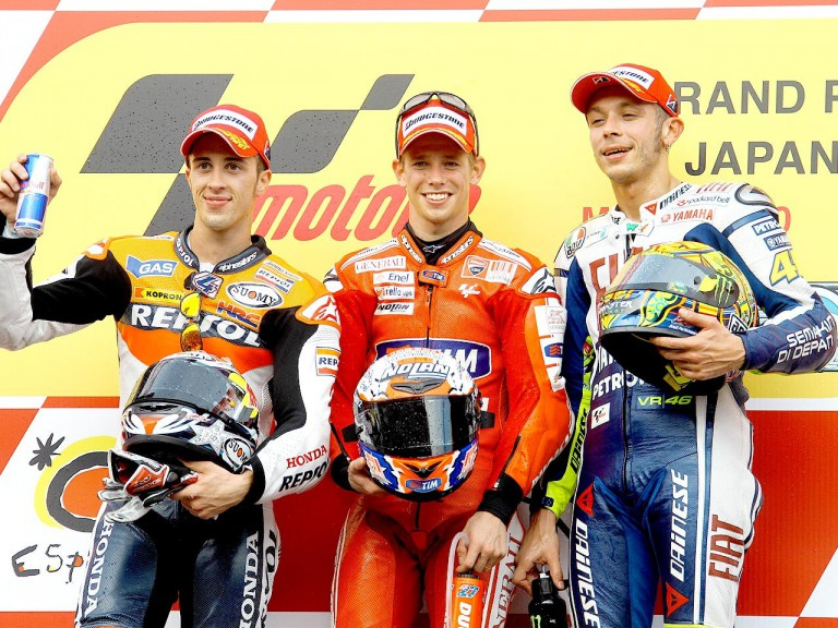 Dovizioso, Stoner and Rossi on the podium at Motegi