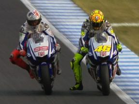 Rossi vs Lorenzo Podium Battle at Motegi