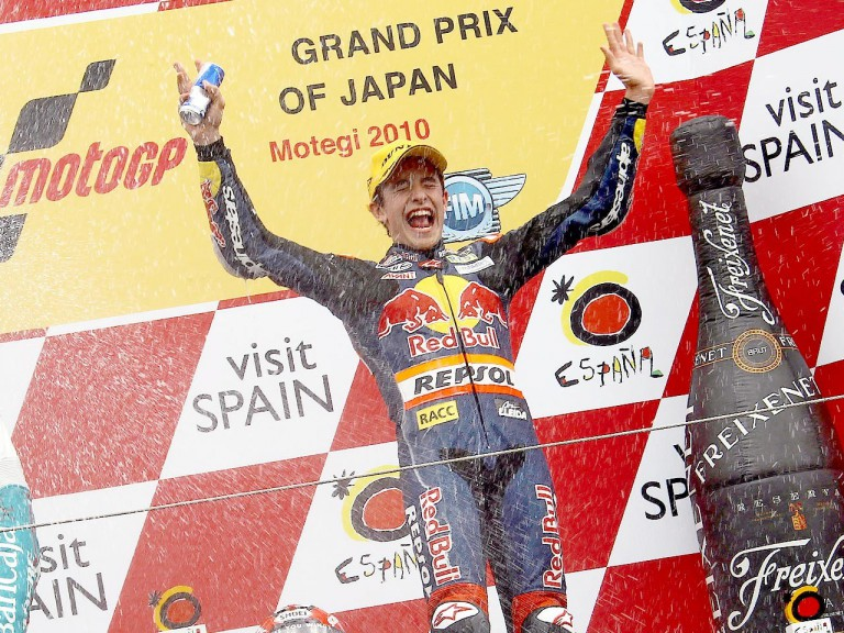 Marc Marquez celebrates GP win at Motegi