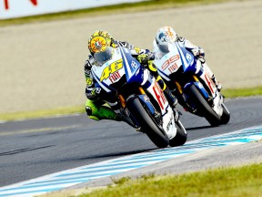 Rossi riding ahead of Lorenzo at Motegi
