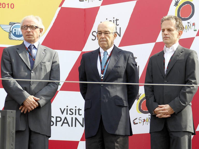 FIM President Vito Ippolito, Dorna CEO Carmelo Ezpeleta and Olivier Metraux at Shoya Tomizawa honoured in Motegi