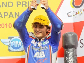 Karel Abraham on the podium at Motegi
