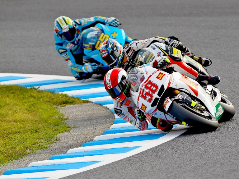 Simoncelli riding ahead of MotoGP group at Motegi