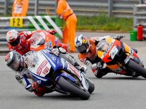 Lorenzo riding ahead of Pedrosa and Stoner
