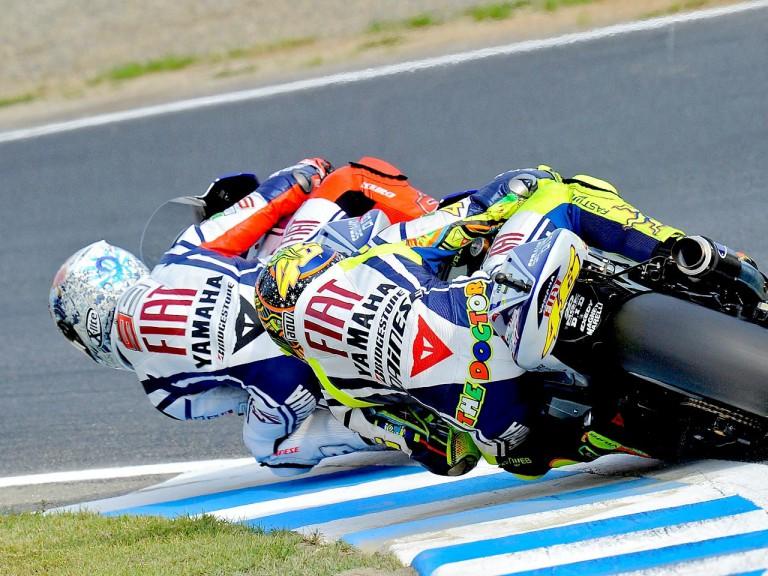 Valentino Rossi chasing Jorge Lorenzo