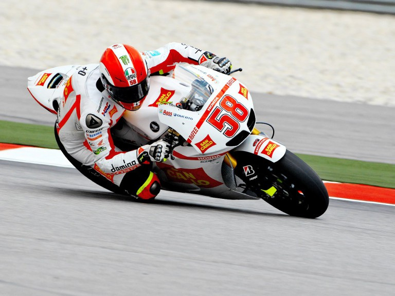 Marco Simoncelli in action at Sepang