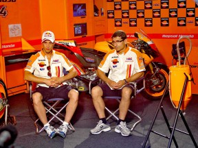 Andrea Dovizioso and Ramon Aurin in the Repsol Honda garage