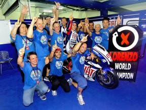 Jorge Lorenzo and his crew celebrating 2010 MotoGP World Championship at Sepang