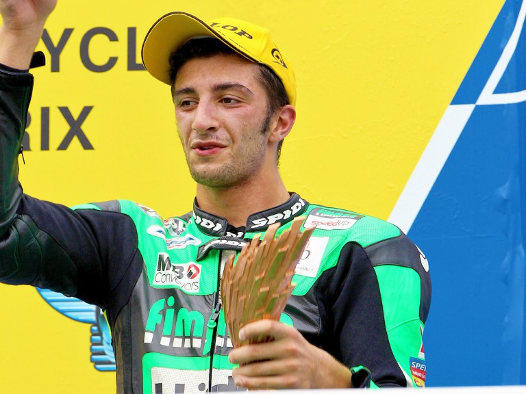 Andrea Iannone on the podium at Sepang